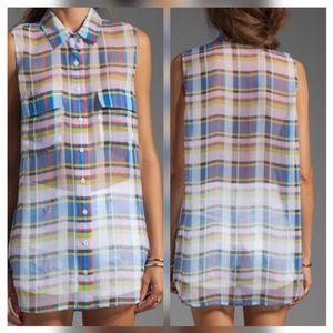 Equipment Shadowplay Plaid Sleeveless Silk Blouse